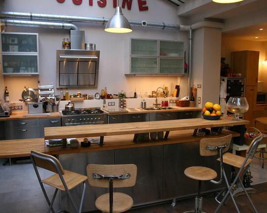 Cuisine ouverte avec un ilot central bar cabinet dario for Cuisines ouvertes avec bar