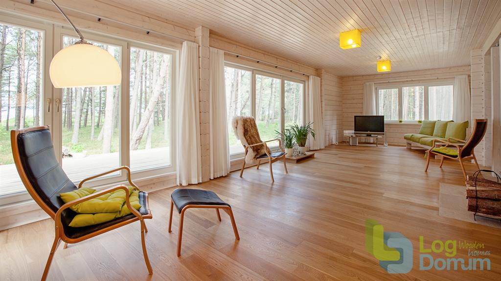 Salon moderne aux rev tements en bois clair palmatin ou - Salon bois moderne ...