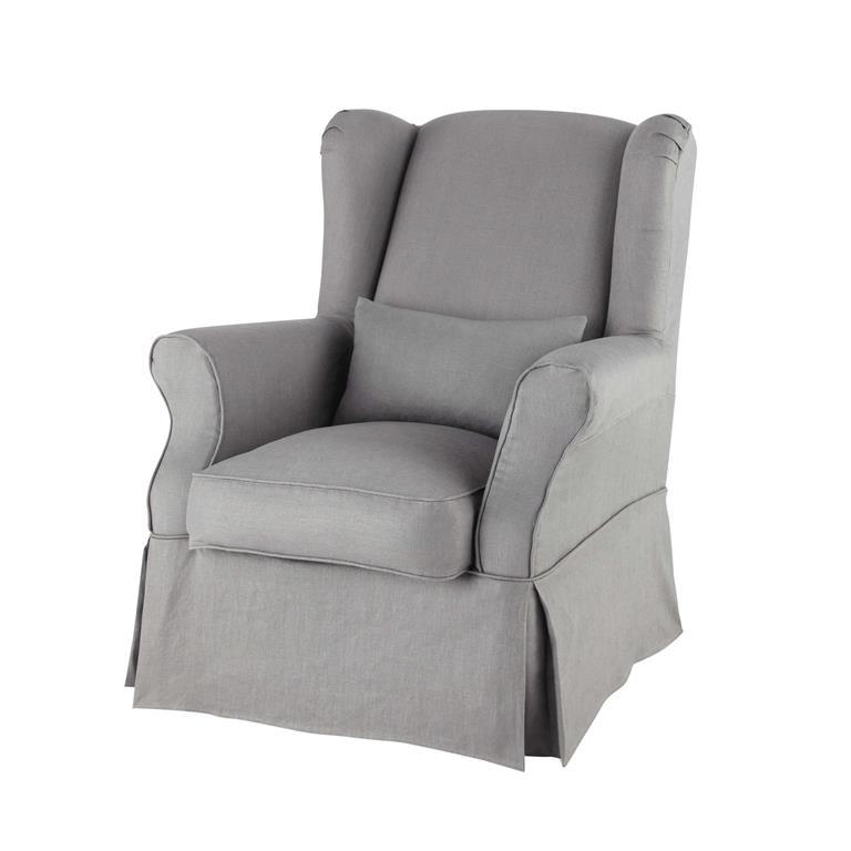 housse de fauteuil en lin grise cottage maisons du monde
