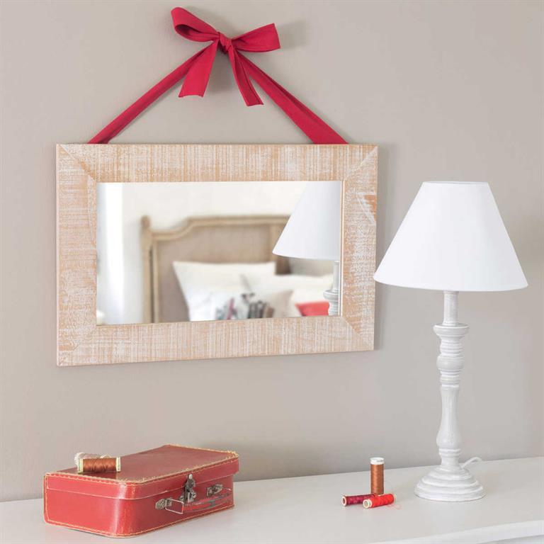 Miroir avec ruban en bois H 32 cm CASTELLANE
