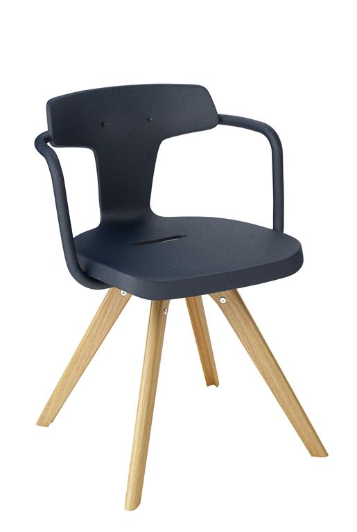 Chaise T14 bois azurite 1