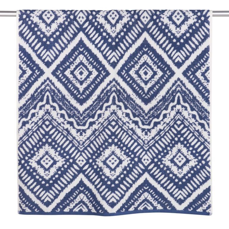 Serviette en coton bleu motifs graphiques 70x140