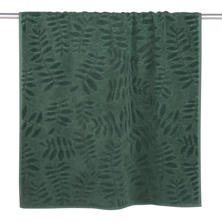 Serviette en coton vert motifs feuilles 70x140