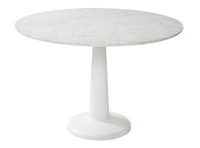 Table G / Ø 110 cm - Plateau marbre - Tolix blanc