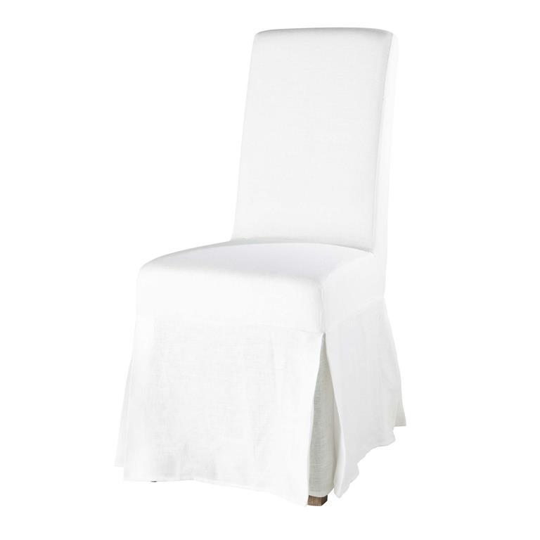Housse longue de chaise en lin lavé blanche Margaux
