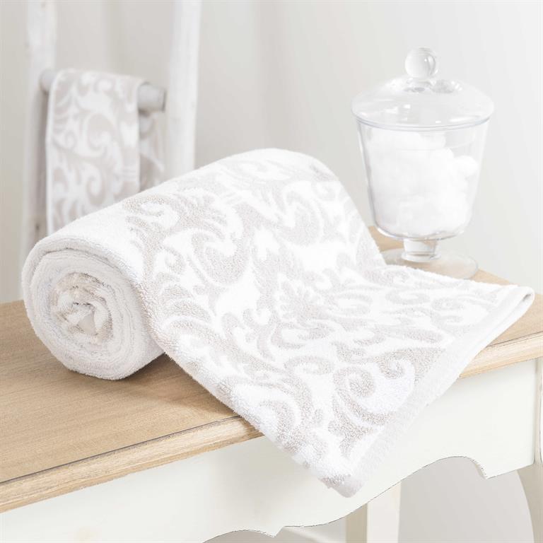 Serviette de bain en coton blanc et beige 50 x 100 cm ARISTIDE