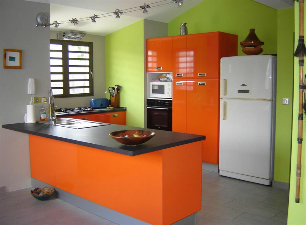 Cuisine avec meubles oranges et murs verts jean pierre gautier for Meubles cuisine design