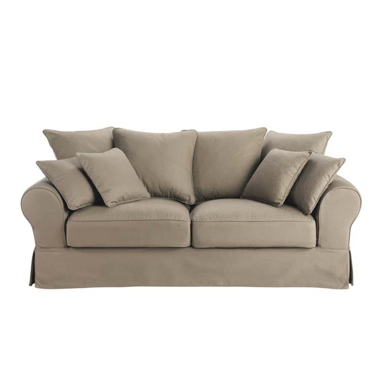 Canapé-lit 3 places en coton taupe Bastide