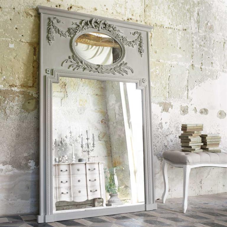 Miroir trumeau en bois gris H 160 cm MIRANO