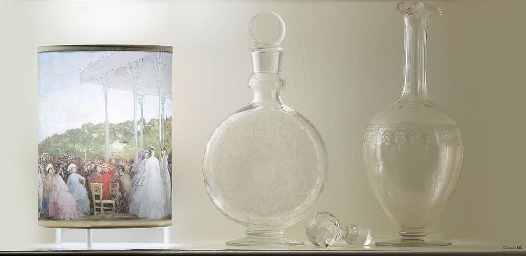 Petite lampe reproduisant un tableau d'Eugène Boudin