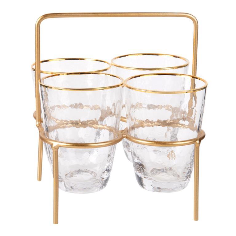 Support en métal doré avec 4 verres en verre martelé