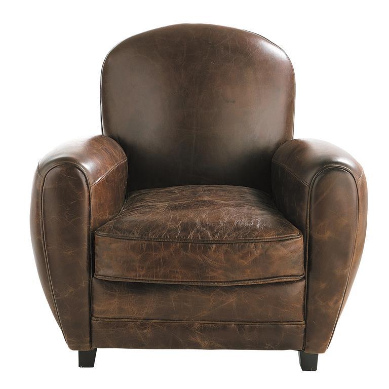Fauteuil club en cuir marron Oxford