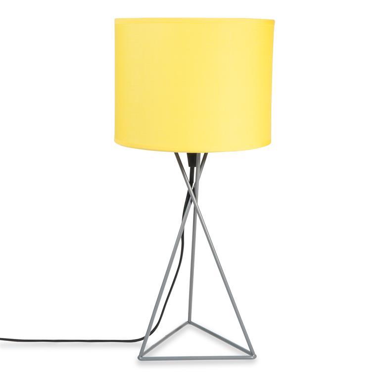 Lampe en métal grise et abat-jour jaune H 43 cm GARY