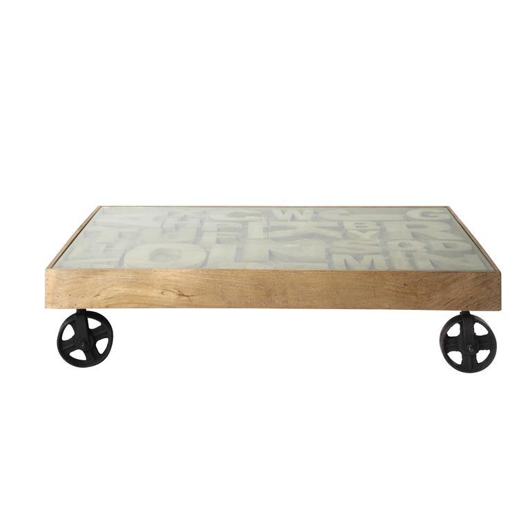 Table basse indus en verre trempé et manguier massif L 120 cm Alphabet