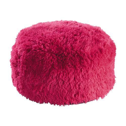 Pouf en fausse fourrure rose D 60 cm MISTY