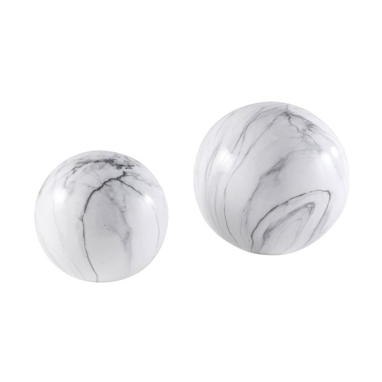 2 boules en céramique effet marbre blanc