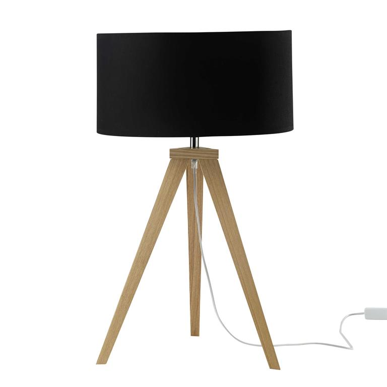 lampe tr pied en bois et abat jour en coton noir h 67 cm. Black Bedroom Furniture Sets. Home Design Ideas