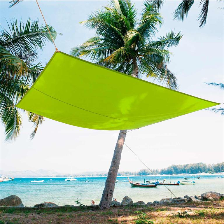 Voile d'ombrage en tissu vert 245 x 348 cm CASTEJA