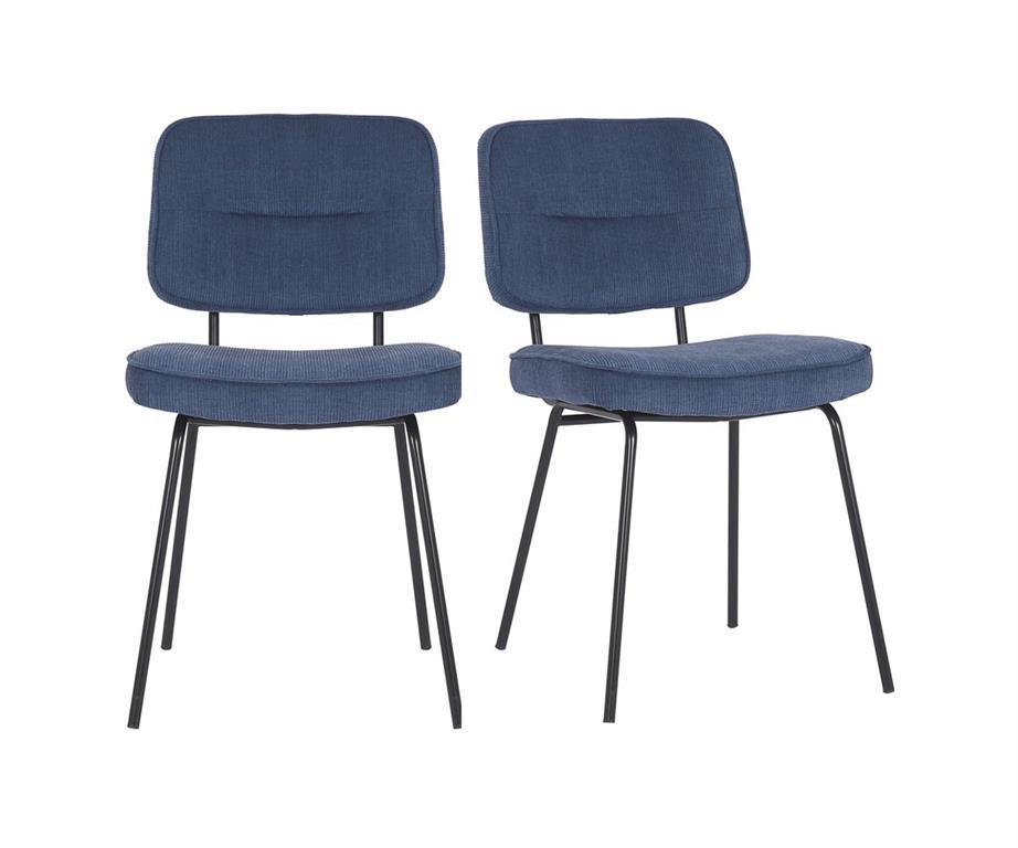 Set de 2 chaises moderne en tissu côtelé ZEZA