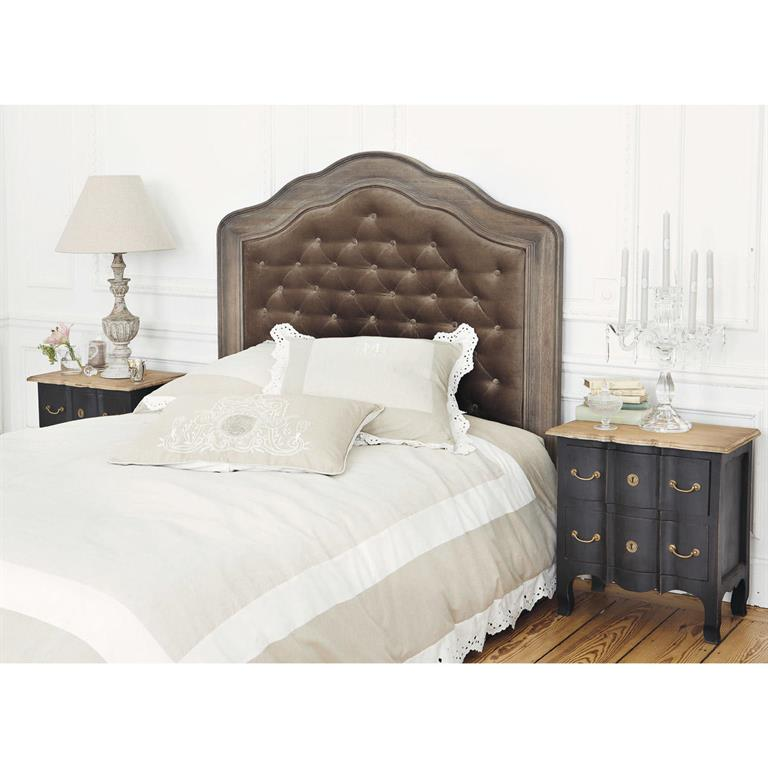 t te de lit capitonn e en velours taupe l 160 cm domitille. Black Bedroom Furniture Sets. Home Design Ideas