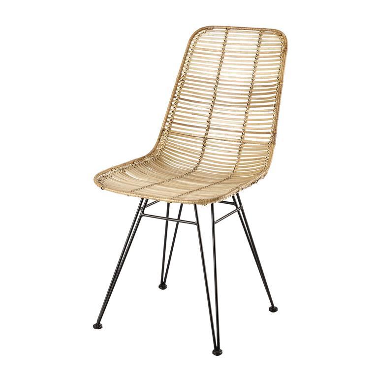 Chaise en rotin et métal Pitaya