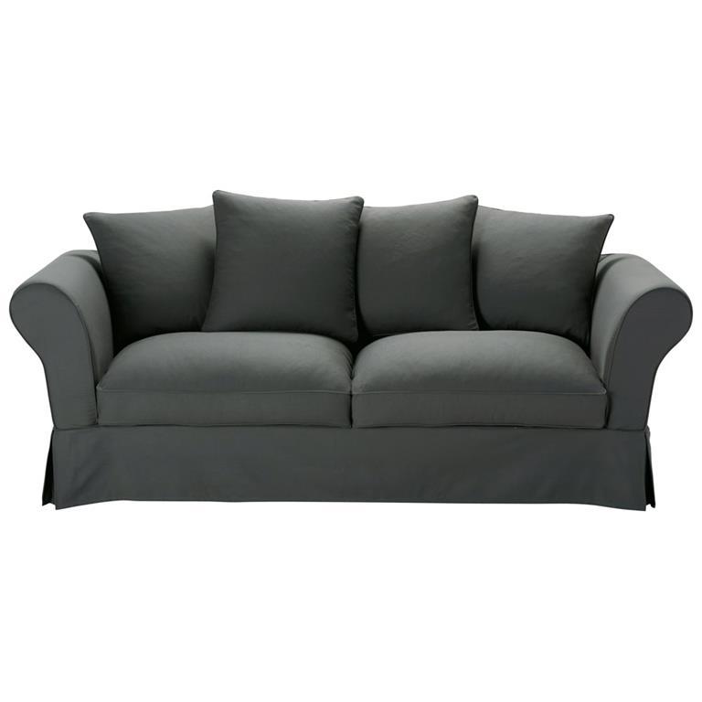 Canapé-lit 3/4 places en coton gris ardoise Roma