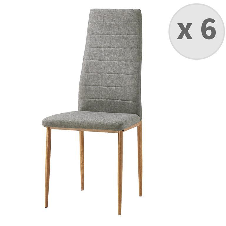 ANNA-chaise de salle à manger Tissu lin pieds effet bois