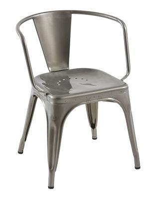 Chaise AC16 / Acier - Assise large - Tolix acier brut brillant