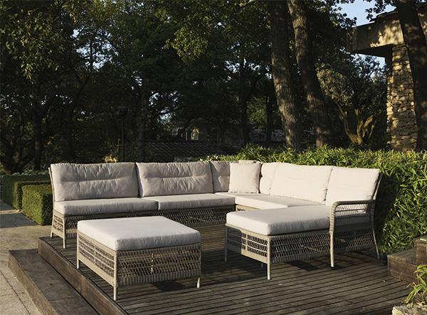 Salon de jardin Hampton en fibre ronde couleur pierre