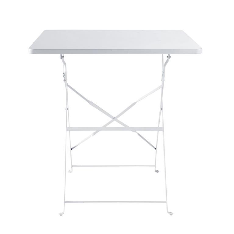 Table de jardin pliante en métal époxy blanc 2 personnes L70 Guinguette