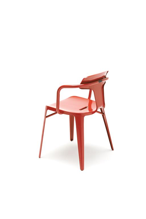 Chaise T14 inox coquelicot