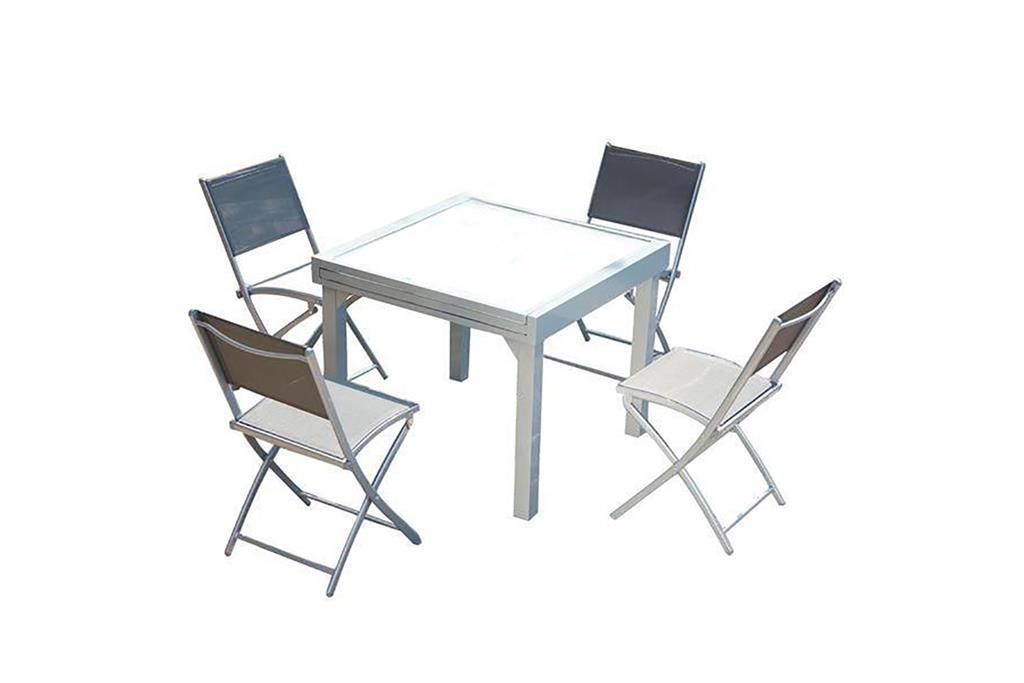 Table de jardin extensible 8 places et 4 chaises en alu