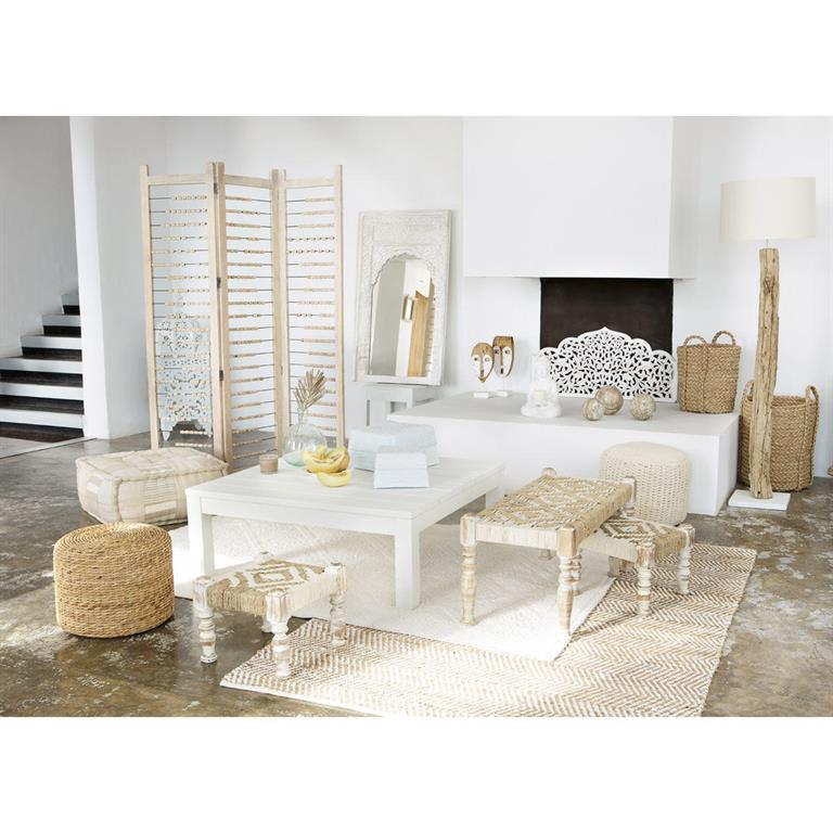 Table basse en bois massif blanche L 100 cm White