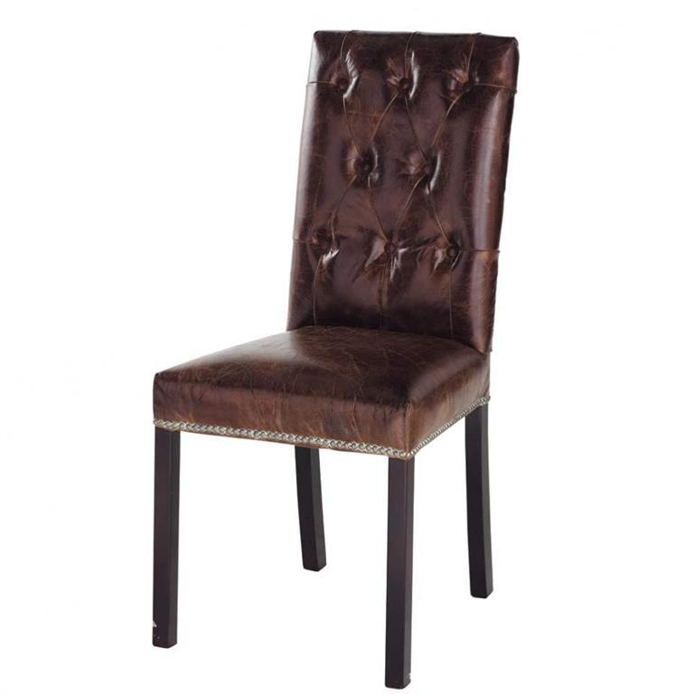 Chaise capitonnée en cuir et bois marron Elizabeth