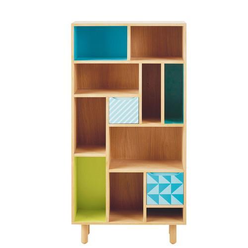 Bibliothèque enfant en bois bleu/vert Leo