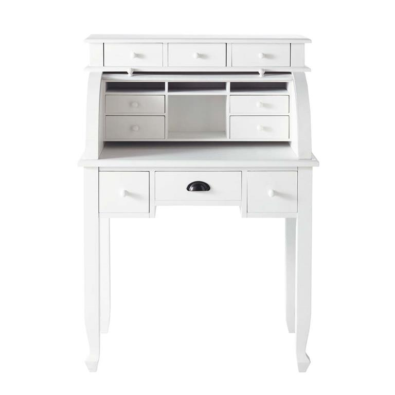 bureau secretaire blanc bureau secr taire en bois blanc l 82 cm freeport maisons bureau secr. Black Bedroom Furniture Sets. Home Design Ideas