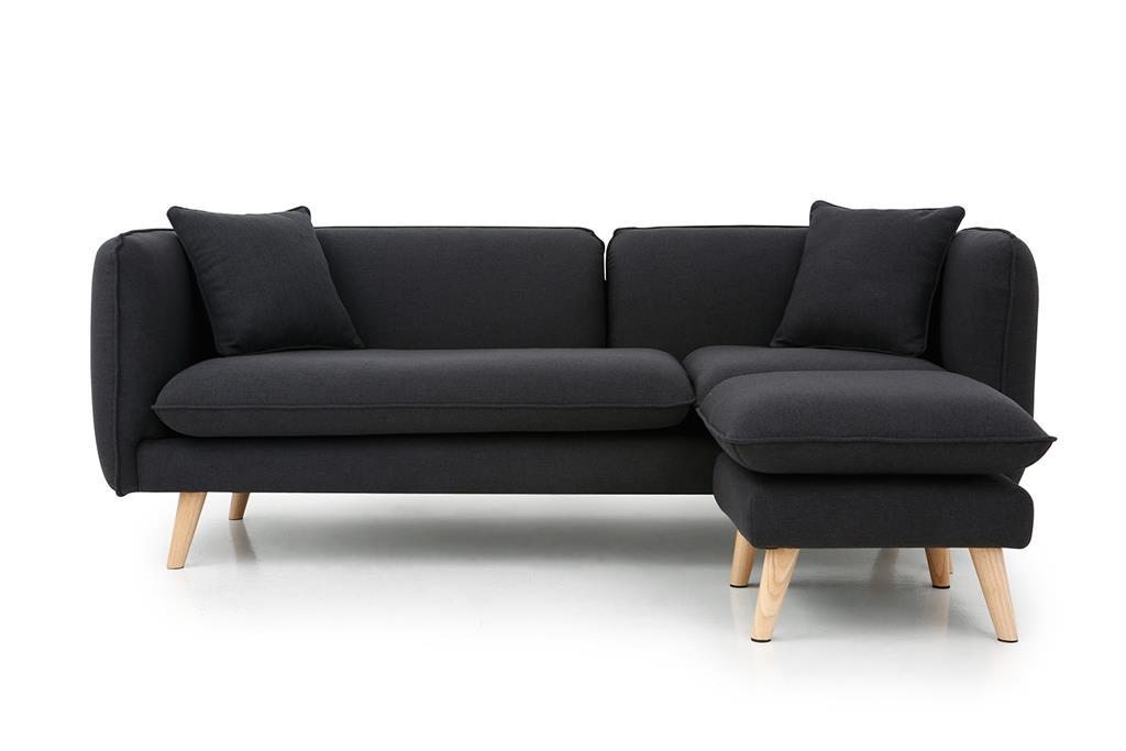 Canapé 3 places et 1 pouf gris anthracite