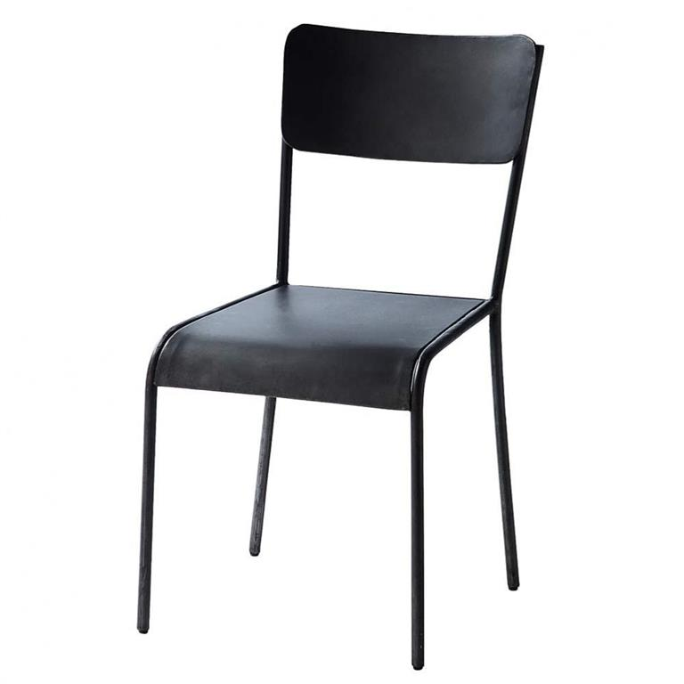 Chaise indus en métal noire