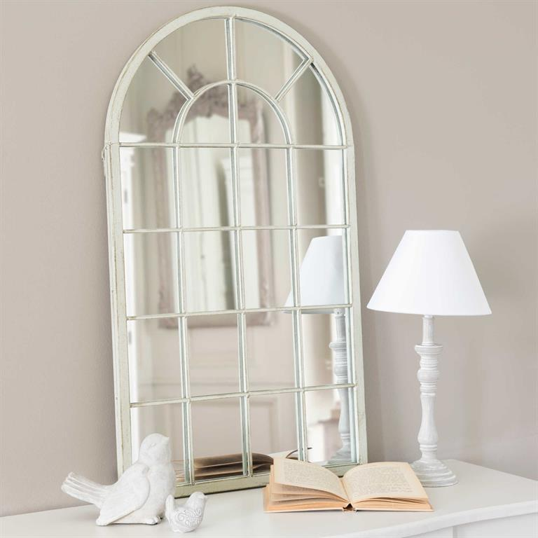 Miroir Arcade en métal et miroir beige H 85 cm