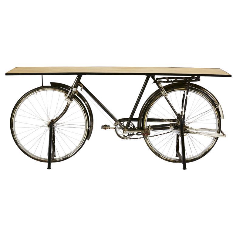 Console bicyclette indus en manguier et métal noir Bicyclette