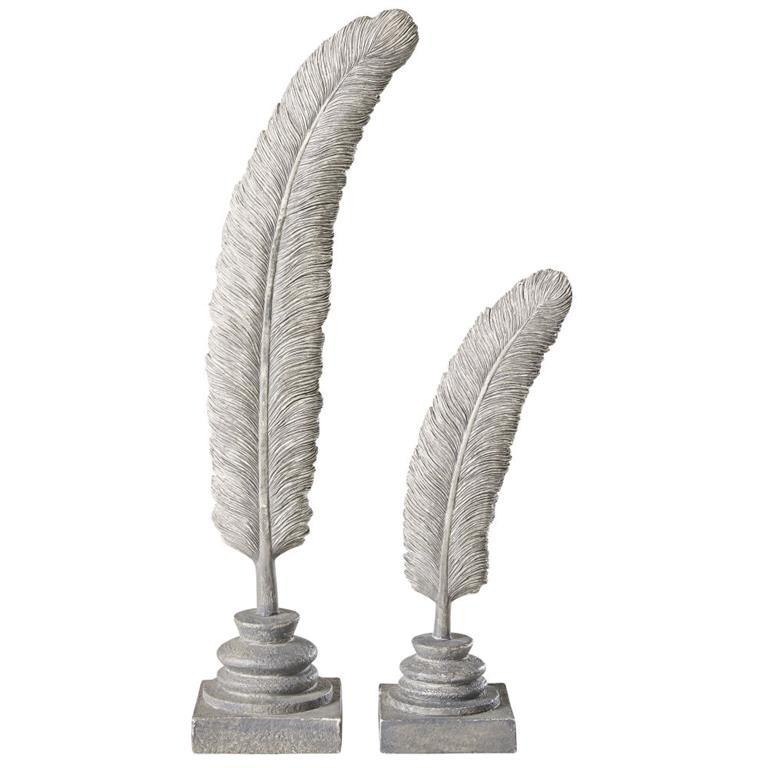 2 statues plumes grises blanchies H40