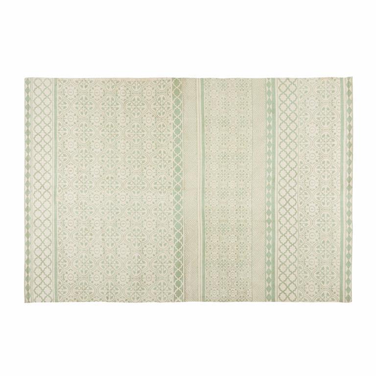 Tapis en coton vert d'eau motifs graphiques 160x230cm BOHEME
