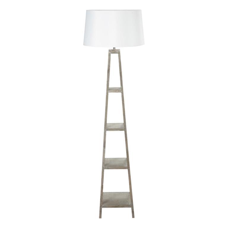 Lampadaire aspect blanc et abat-jour en coton H 170 cm WALLAS