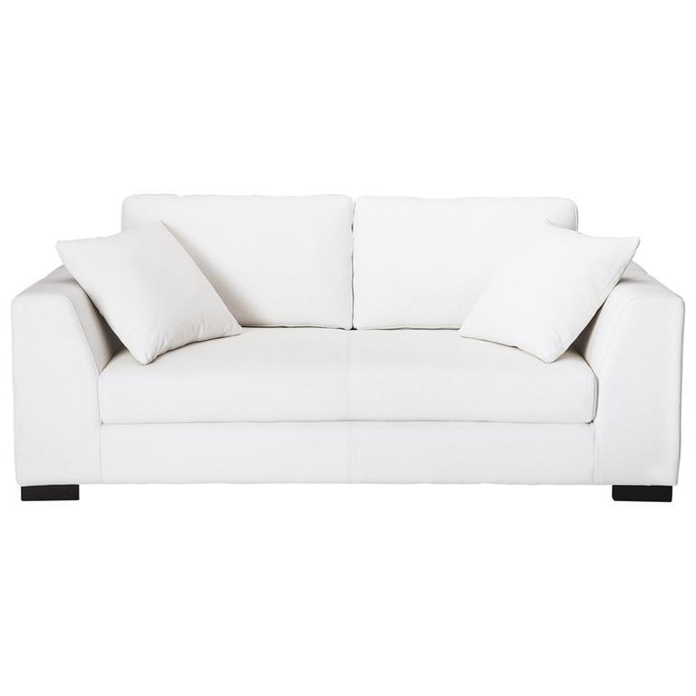 Canapé 2/3 places en cuir blanc Terence