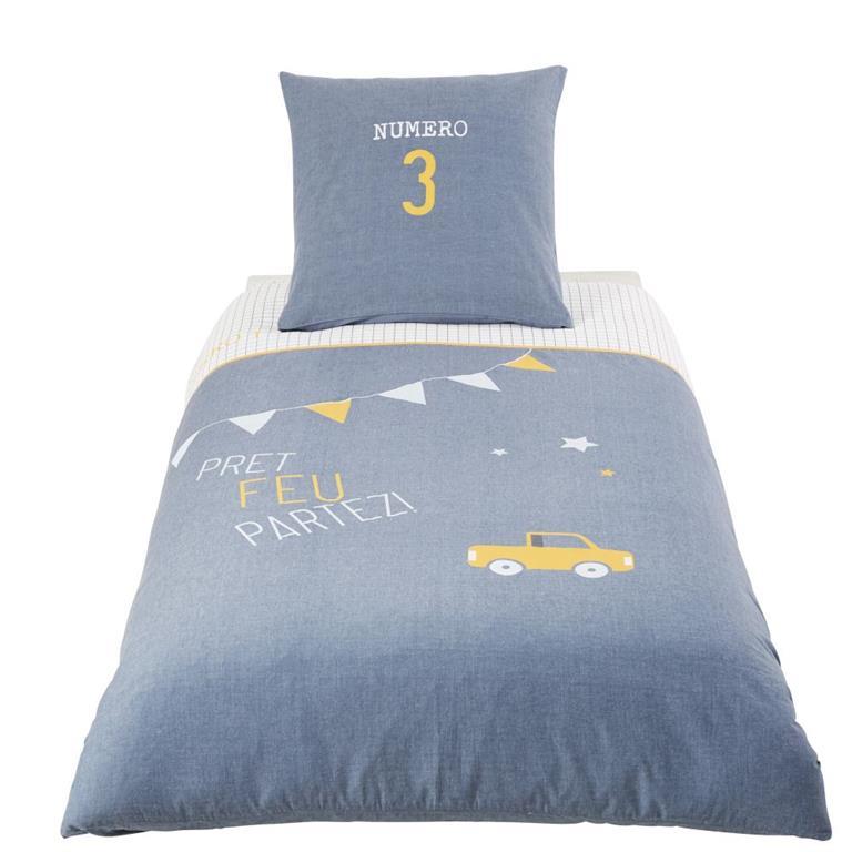 Parure de lit enfant en coton bleu 140x200 Maisons du monde