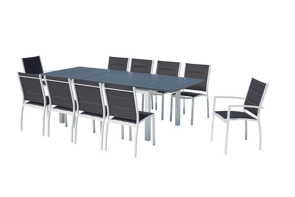 Table de jardin extensible et 10 chaises alu/textilène blanc
