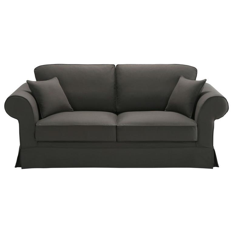 Canapé 3 places en coton gris Victoria