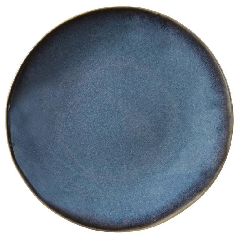 Assiette à dessert en faïence bleue