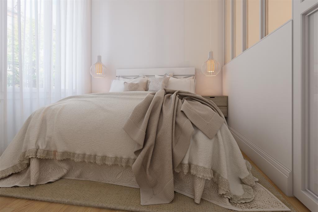 Chambre claire semi-ouverte avec verrière blanche