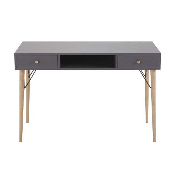 Bureau vintage 2 tiroirs gris anthracite Zen Market